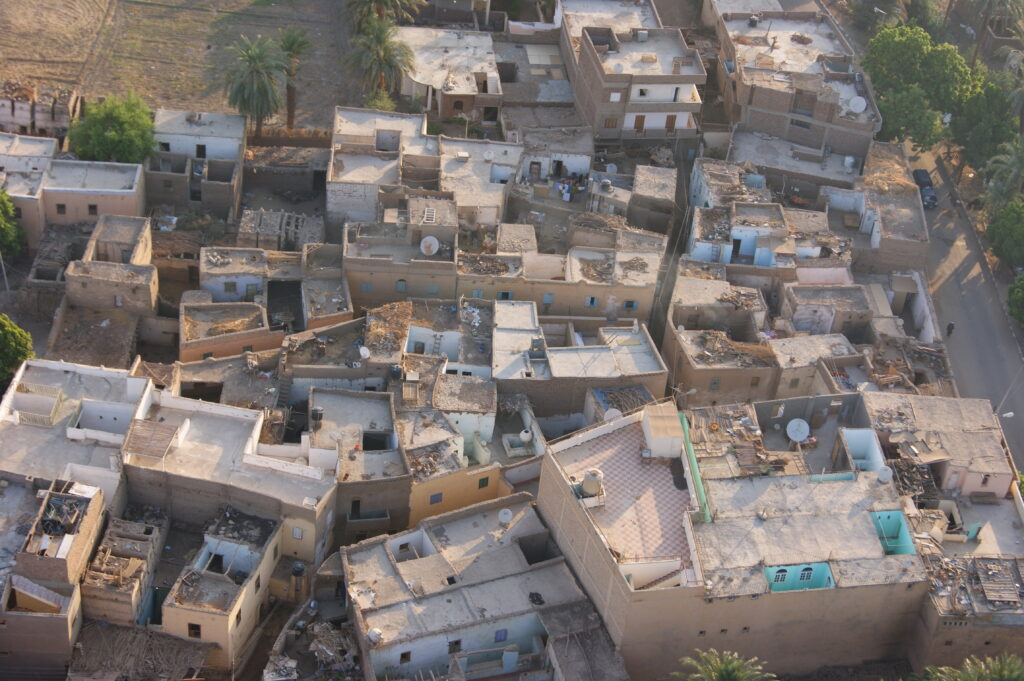 Apartments seen from hot air balloon in Luxor, Egypt