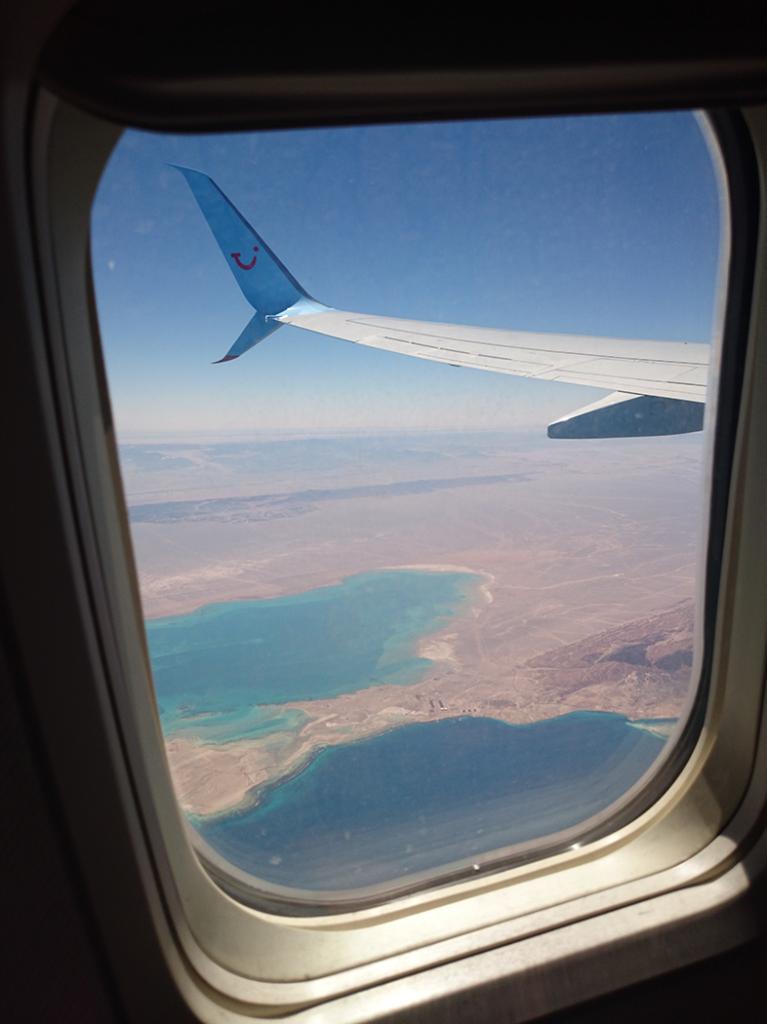 Udsigt over Egypten fra flyvindue