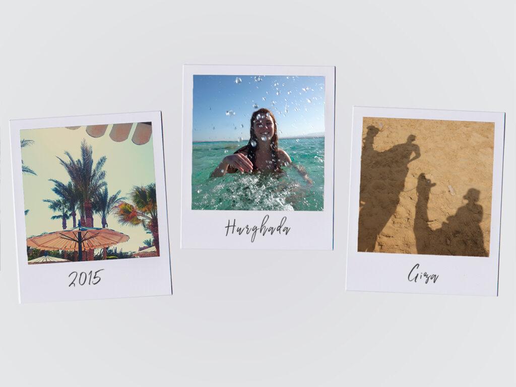 3 polaroid-billeder fra Egypten